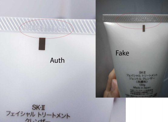 Nhận biết sữa rửa mặt Sk-II Auth và fake qua phần dập code